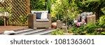 garden armchair with pillows... | Shutterstock . vector #1081363601