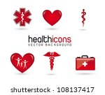 red health icons with shadow... | Shutterstock .eps vector #108137417