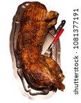 suckling pigin a plate | Shutterstock . vector #1081377191