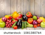 pile fruits and vegetables on... | Shutterstock . vector #1081380764