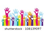 colorful hands up with hearts... | Shutterstock .eps vector #108139097