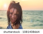 portrait of a cheerful girl at... | Shutterstock . vector #1081408664