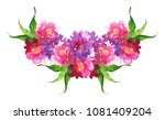watercolor pink purple flower... | Shutterstock . vector #1081409204