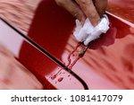 wipe clean a car dirty bird...   Shutterstock . vector #1081417079