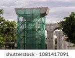 bangkok sky train  bts  under...   Shutterstock . vector #1081417091