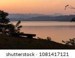 wooden bench near beautiful...   Shutterstock . vector #1081417121