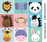 cute group head animals... | Shutterstock .eps vector #1081418534