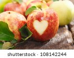 Fresh Red Apple On An Old...