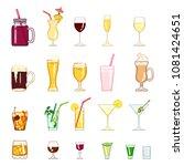 vector cartoon set of alcohol... | Shutterstock .eps vector #1081424651