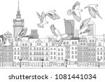 birds over warsaw   hand drawn... | Shutterstock .eps vector #1081441034