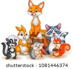 cartoon happy wild animals | Shutterstock .eps vector #1081446374