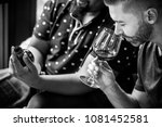 man tasting red wine with... | Shutterstock . vector #1081452581