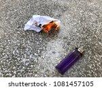 cigarette lighter and a burning ...   Shutterstock . vector #1081457105