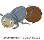 dung beetle with a big ball of... | Shutterstock .eps vector #1081460111