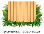 blank sign wood board on the... | Shutterstock .eps vector #1081460135