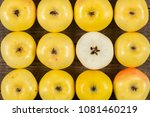 fresh yellow apples on wooden... | Shutterstock . vector #1081460219