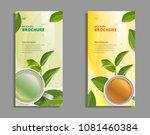 black tea and green tea cup... | Shutterstock .eps vector #1081460384
