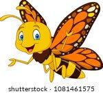 cartoon happy butterfly | Shutterstock .eps vector #1081461575