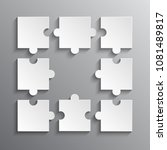 8 white puzzle pieces   jigsaw. ... | Shutterstock .eps vector #1081489817