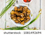 roasted grilled mushrooms on... | Shutterstock . vector #1081492694