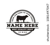 vintage angus cattle beef logo... | Shutterstock .eps vector #1081497047