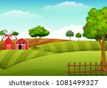 farm landscape with shed and... | Shutterstock .eps vector #1081499327