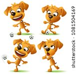 set yellow funny dog playing... | Shutterstock .eps vector #1081504169