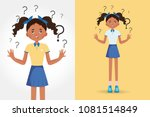 a beautiful girl spread out her ... | Shutterstock .eps vector #1081514849
