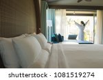 asian woman waking up in the... | Shutterstock . vector #1081519274