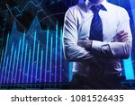 businessman on abstract forex... | Shutterstock . vector #1081526435