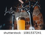 close up of barman pours light... | Shutterstock . vector #1081537241