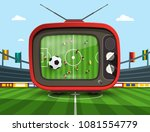 retro television with soccer... | Shutterstock .eps vector #1081554779