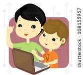 boys playing computer games...   Shutterstock .eps vector #108155957