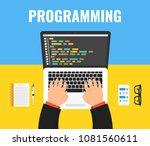 programmer coding on laptop... | Shutterstock .eps vector #1081560611