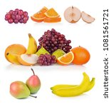 fruits  isolated on white... | Shutterstock . vector #1081561721