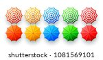 beach umbrellas set isolated on ... | Shutterstock .eps vector #1081569101