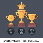winner cup flat icons. reward...   Shutterstock .eps vector #1081582367