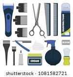 barber tools vector set.... | Shutterstock .eps vector #1081582721