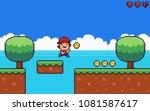 pixel art 8 bit game scene... | Shutterstock .eps vector #1081587617