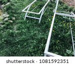 metal frame sun loungers on the ... | Shutterstock . vector #1081592351