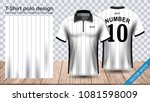polo t shirt with zipper ... | Shutterstock .eps vector #1081598009
