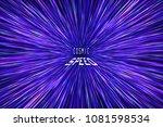 light rays. neon radial lines... | Shutterstock .eps vector #1081598534