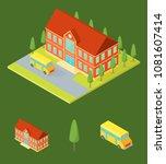 school public building and...   Shutterstock .eps vector #1081607414