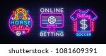 online betting collection neon... | Shutterstock .eps vector #1081609391