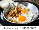 indochina pan fried egg with... | Shutterstock . vector #1081620329