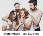 group of friends playing... | Shutterstock . vector #1081621901