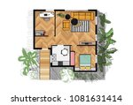 rendered floor plan. vector... | Shutterstock .eps vector #1081631414