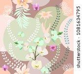 elegant botanical print with... | Shutterstock .eps vector #1081634795