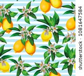 seamless citrus vector pattern... | Shutterstock .eps vector #1081647584