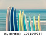 stack of colorful surfboads on... | Shutterstock . vector #1081649354